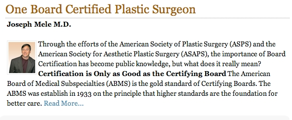 Click here for the full version of Dr. Mele's article on Board Certification.