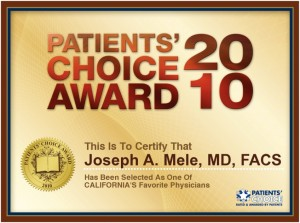 Dr. Mele Receives the 2010 Patients' Choice Award