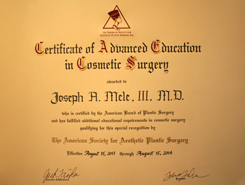 Certificate of Advanced Education in Cosmetic Surgery - Dr. Joseph Mele