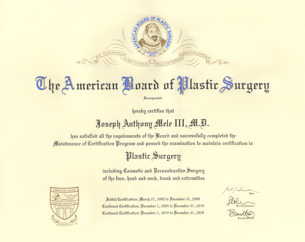 Board Certified by the American Board of Plastic Surgery