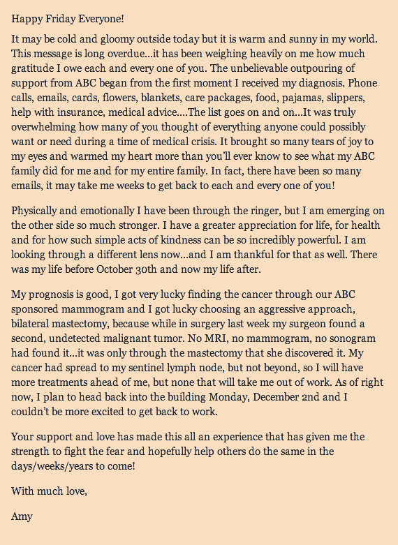 Amy Robach's Thank-you Letter to her Extended Family.