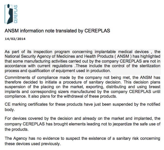 CEREPLAS Suspension Letter - 14 Feb 2014
