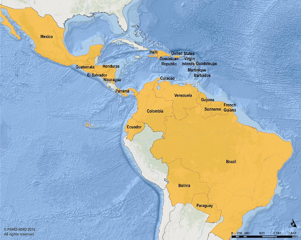 Human Cases of Zika virus for 2015-2016 from the Pan American Health Organization.