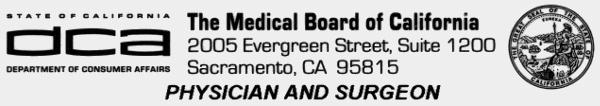 California Medical License