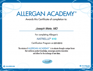 Allergan Natrelle 410 Training Certificate