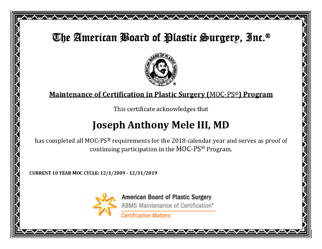 The above certificate represents years of training and many weeks of ongoing continuing medical education.