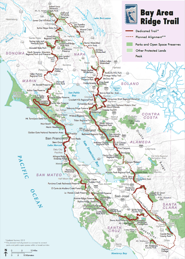 Many of the larger Bay Area Parks appear on this map of the currently under construction Bay Area Ridge Trail