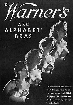 In 1937, Warner introduced its Alphabet Bra with four cup sizes (A, B, C and D)