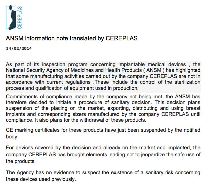 CEREPLAS Suspension Letter - 14 Feb 2014