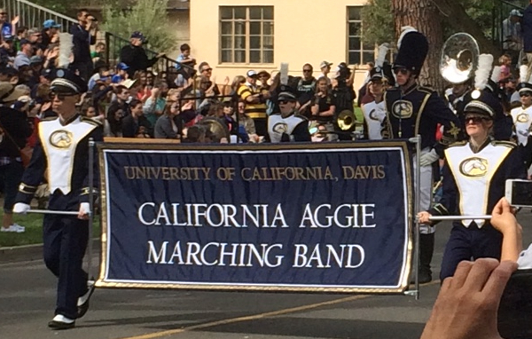 The Cal Aggie Band-uh leads off the 103rd annual Picnic Day Parade.