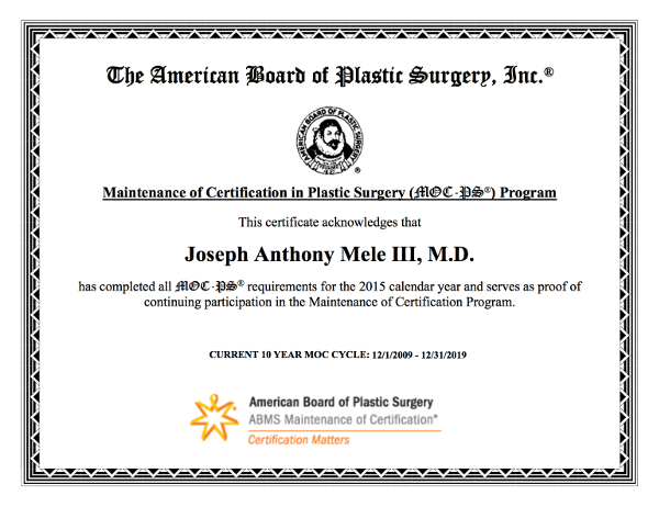 For your safety, Dr. Mele maintains his Board Certifications with two ABMS recognized boards: The American Board of Plastic Surgery and the American Board of Surgery.