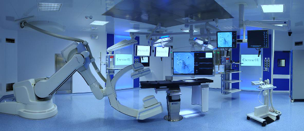 This is the operating room for cardiovascular surgery at Gemelli Hospital in Rome, Italy. This hospital operating room is specialized, provides a higher level of care and is very expensive and excessive for Breast Augmentation.