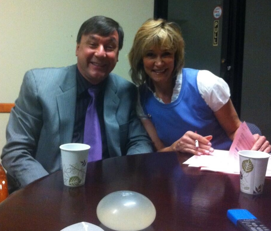 Janelle Marie and Dr. Mele getting ready for another episode of Body Beautiful - Looks like we were talking about Breast Implants that day.
