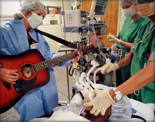 How about live music in the OR? The Louis and Lucille Armstrong Music Therapy Department at Beth Israel Medical Center has been supported by the Louis Armstrong Foundation since 1994.