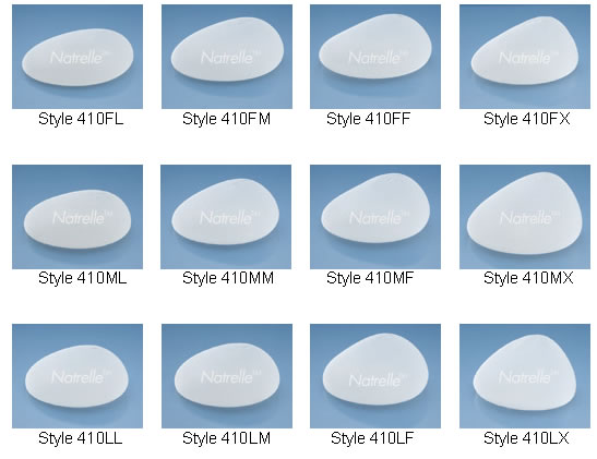 Natrelle Style 410 Highly Cohesive Breast implants (Gummy Bear Implants) come in 16 basic shapes, and each shape comes in many sizes.