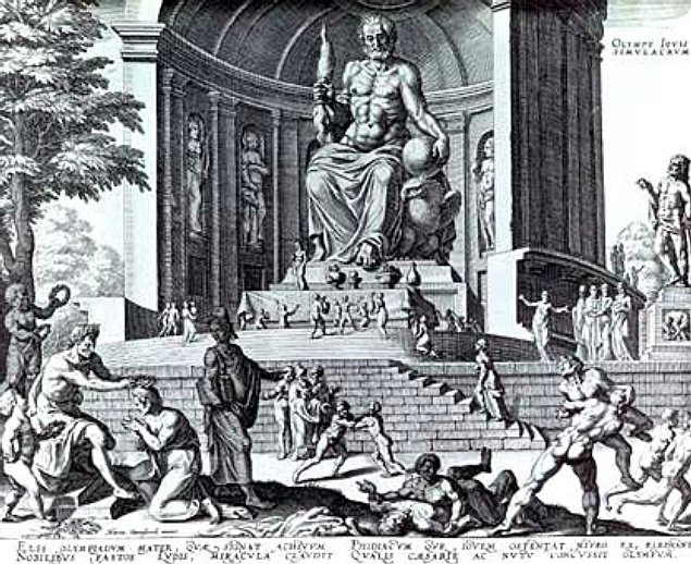 1572 engraving by Philippe Galle of Phidias' enormous Statue of Zeus at Olympia