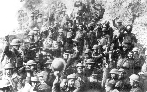 US 64th Regiment, 7th Infantry celebrate the first Armistice Day.