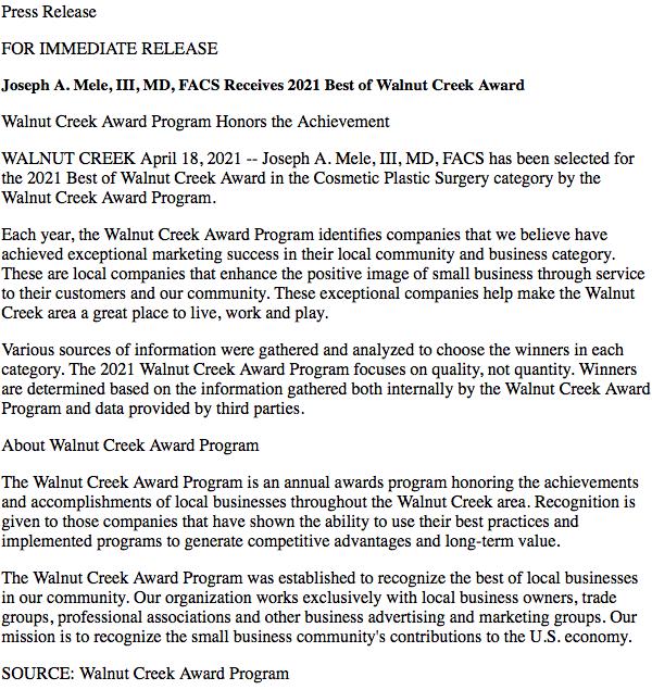 2021 Press release from he Business Hall of Fame - Walnut Creek Award Program.